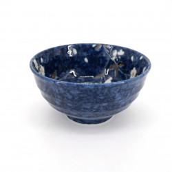 ciotola di zuppa giapponese in ceramica blu, HIWA, i fiori