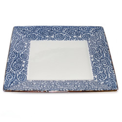 assiette carrée japonaise, AI KARAKUSA, bleue