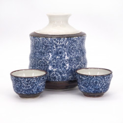 sake service 1 bottle and 2 cups, TAKO KARAKUSA, blue