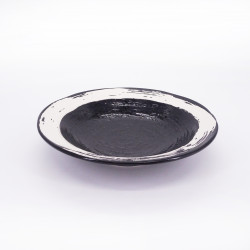 japanese black noodle ramen bowl, KURO, white brush