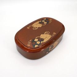 round black resin tray for sushi, HAMAGURI, flowers