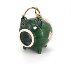 ceramic table ornament, BUTA, green pig