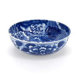 Japanese flat blue bowl in ceramic, KOI, carp