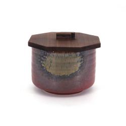 Ciotola di ceramica giapponese con coperchio di legno, IGA, rosso