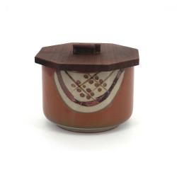 Ciotola di ceramica giapponese con coperchio di legno, MARUMON, marrone