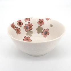 bol ramen blanc japonais en céramique, SAKURA, fleurs