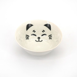 japanese white ramen bowl in ceramic, MANEKINEKO, cat