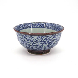 japanese noodle bowl in ceramic, TAKO KARAKUSA, blue