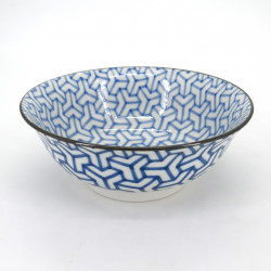 japanese blue ramen bowl, KUMIKIKKO, blue patterns