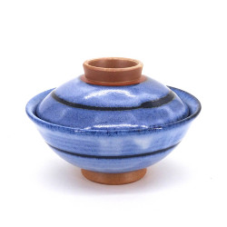 Japanese blue ceramic bowl with lid, RICHA, circle