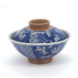 Tazón azul de cerámica japonés con tapa, SHONZUI, flores