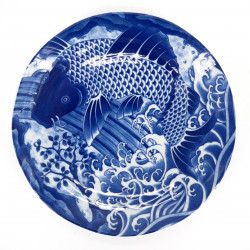 japanese round blue plate in ceramic, KOI, carp