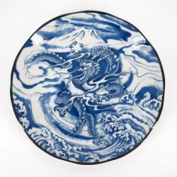assiette ronde japonaise en céramique bleue, RYU, dragon