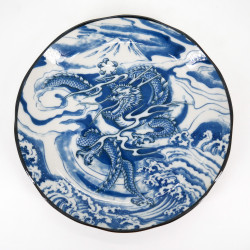 japanese blue round plate in ceramic, RYU, dragon