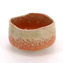 Ciotola da tè giapponese per cerimonia – chawan, HAIUWAGUSURI, arancione