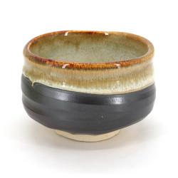 bol japonais à cérémonie du thé - chawan, KASUGA, gris et doré