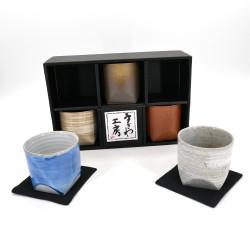 set de 5 tasses larges japonaises 5 couleurs en céramique GOSAISOROI
