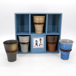 set de 5 tasses mazagrans japonaises en céramique 5 couleurs IZAKAYA