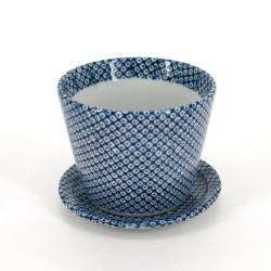 Japanischer Soba-Becher, SHIBORI, blaue Muster