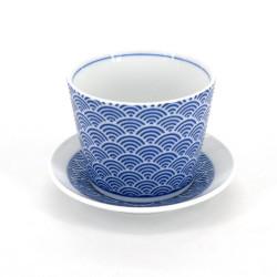 Copa japonesa de soba con olas, SEIGAIHA, patrones azules