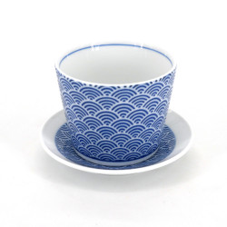 Tazza soba giapponese con onde, SEIGAIHA, motivi blu