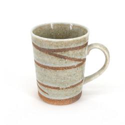 Tazza da tè giapponese di ceramica bianca, SHIROYU, mulinello
