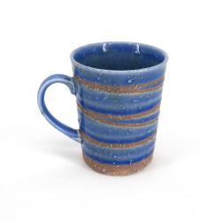 mug japonais à thé en céramique bleu avec anse, AOYU, tourbillon