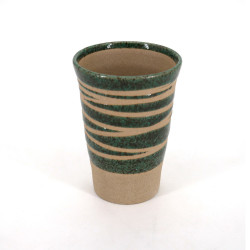 Japanese 11cm green tall teacup ORIBE in ceramic, lines