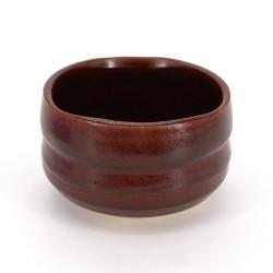 bol japonais pour cérémonie du thé en céramique, SABI, rouge