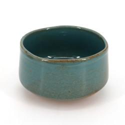 bol japonais pour cérémonie du thé en céramique, BURU, bleu