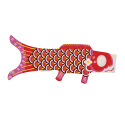 manche à air en forme de carpe koi rouge KOINOBORI AKAI