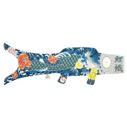 manche à air en forme de carpe koi bleu KOINOBORI TATTOO KOI