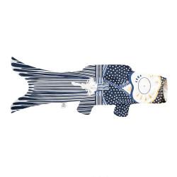 manche à air en forme de carpe koi bleu KOINOBORI KIMONO BOY