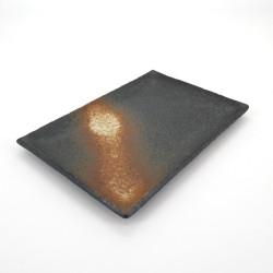 assiette rectangle japonaise en céramique, BIZEN, noire et rouille