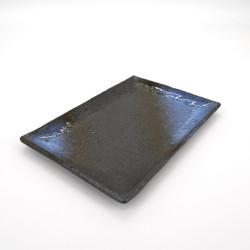 assiette rectangle japonaise en céramique, AOGUMO, noire et bleue