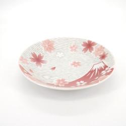 piatto rotondo giapponese fiori di ciliegio, FUJI, rosso