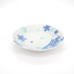 assiette ronde japonaise en céramique fleurs, FUJI, bleue
