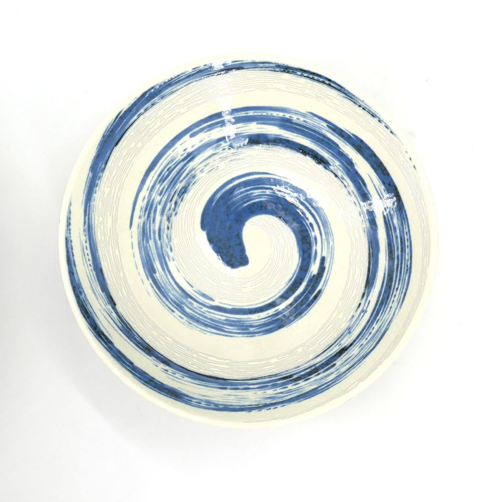 japanese round plate in ceramic NARUTO blue whirlpool