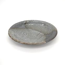 assiette ronde japonaise Ø25,5cm en céramique, YAMAGASUMI, grise