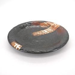 japanische braune runde platte aus keramik, SHIROHAKE, weiße pinsel