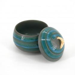 tasse ronde japonaise avec couvercle bleue en céramique NARUTO, tourbillon