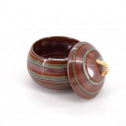 tasse ronde japonaise avec couvercle rouge en céramique NARUTO, tourbillon