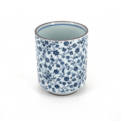 Taza blanca de té japonesa de ceramica, HANAMOMEN flores azules