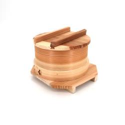 Ciotola per spaghetti giapponesi con coperchio opaco e lato inferiore di legno naturale Ø15cm
