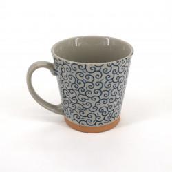 Tazza da tè giapponese di ceramica, KARAKUSA, blu
