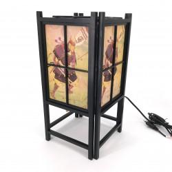 Lampada nera giapponese, legno e carta SAMURAI
