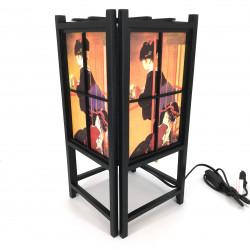 Lampada nera giapponese, legno e carta Geisha