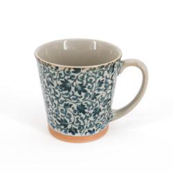 Tazza da tè giapponese di ceramica, SARASA, fiori blu