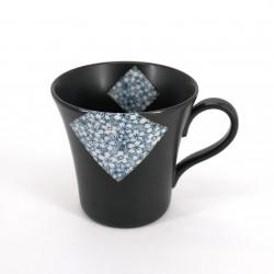mug japonais à thé en céramique avec anse, SAKURA, noir