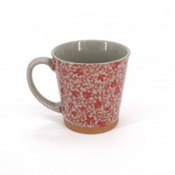 Japanese ceramic tea mug with handle SARASA red flowers